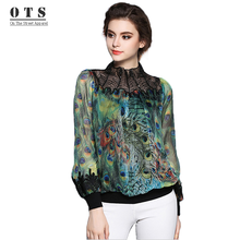 Aoxuer Autumn Women Blouses Vintage Printed Long Sleeve Peacock Feather Printing Embroidery Shirt C952(China)