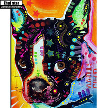5D full square drill diamond DIY Diamond painting American Bulldog Embroidery Cross Stitch Diamond mosaic Rhinestone decoration(China)