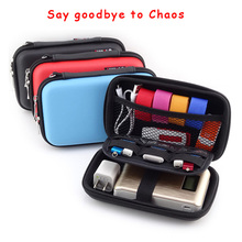 "Waterproof Leather Hand Carry hard Drive Enclosures Bag Case Cover Compartments for 2.5"" HDD Hard Disk,Mobile Power bank GH1301(China)"
