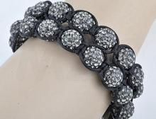 Free Shipping ! 50% discount Two Row Best 10mm 22 Crystal clay rhinestone Ball Beads Shamballa Bracelet.Hot selling Jewelry!(China)