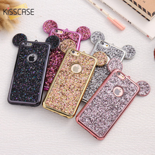 KISSCASE New Cute Rhinestone Phone Case For iPhone 6 6 Plus Mickey Ear Cases For iPhone 6 6s Plus Accessories Fundas Capa Conque(China)