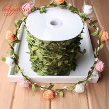 10Meter Silk Nature Green Artificial Leaf Leaves Vine Wedding Decoration Foliage Scrapbooking Craft Wreath Fake Flowers Home(China)