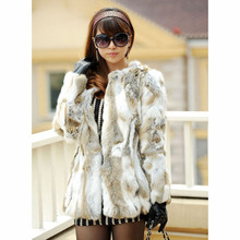 Lady Genuine Rabbit Fur Coat long style natural rabbit fur jacket Women Winter Rabbit Fur Waistcoat plus size 2017 new fashion