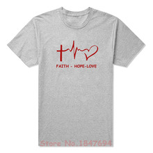 New Summer Style Faith Hope Love Christian T-shirt Funny christianity god tee Gift T Shirt Men Casual Short Sleeve Top Tees(China)