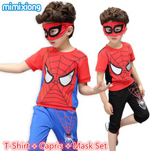 Spider-man Boys Clothing Suits Summer Casual Children's Outfits T-Shirt + Capris + Mask Tracksuits Fashion Red Sport Suits 3pcs
