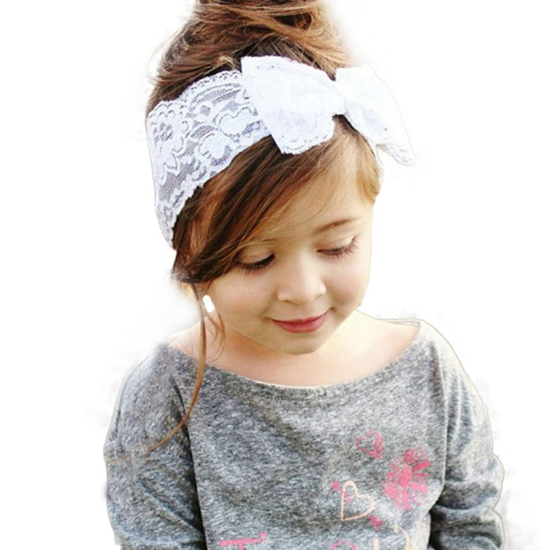 Baby Girl Hair Band 2016 New Girls Lace Big Bow Hair Band Baby Head Wrap Band Accessories #2415<br><br>Aliexpress