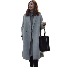 2017 New Winter Clothes Woman Long Design Woolen Coat Female Fashion Elegant Slim Thin Blends Trench Overcoat with Pockets XH602