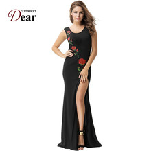 Comeondear Slit Long Maxi Evening Party Gown Autumn Long Maxi Dress VK1066 Large Sizes Floral Embroidery Vestido Manga Longa(China)
