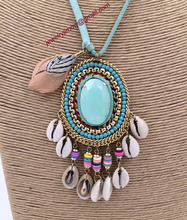 2015New personalized handmade jewelry supplier Turquoise pendant beaded chain boho long Necklaces for women