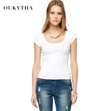 Oukytha 2017 High Quality Sexy Low-cut Summer Short-sleeved T-shirts Female Slim White/Black Elastic Basic Tops Cotton M16046
