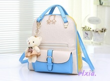 Free shipping, 2017 new women handbags, fashion Korean version shoulder bag, bear ornaments messenger bag, backpacks woman bag.