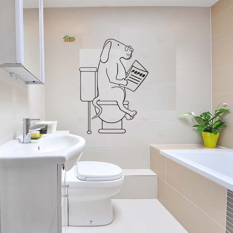 Cartoon Dogs Go To WC Wall Stickers Lovely Animal Vinyl Decals For Door Children Room Home Decor Bathroom PVC Wall Decals (1)