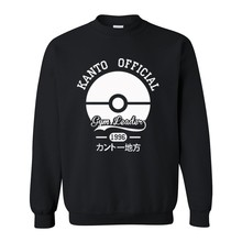 Pokemon KANTO OFFICLAL Hoodies Sweatshirts Autumn Winter Cartoon Men Long Sleeve Anime Man's Clothing Fake Fleece Hooded Jumpers