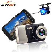 SKydot Mini Car Cam DVR Dash Camera With Rear View Mirror Dual Lens 4 Inch Full HD 1080P+720P Auto Video Recorder Camcorders(China)