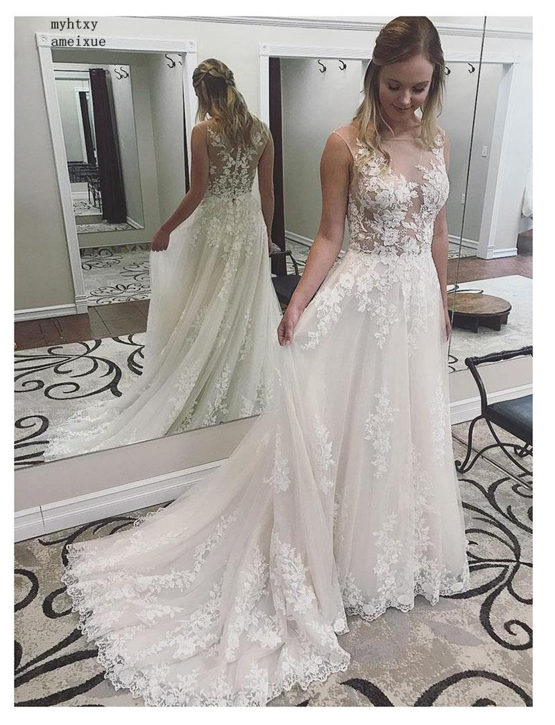 Sexy Boho Cheap Wedding Dress See Through White Ivory Appliques Lace Princess Bride Dress Long Wedding Gowns Free Shipping