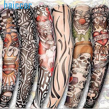 Arm Sleeves Kit Pen2017 6Pcs Unisex Temporary Fake Slip On Tattoo Arm Sleeves Kit New Fashion Sunscreen JUNE19(China)