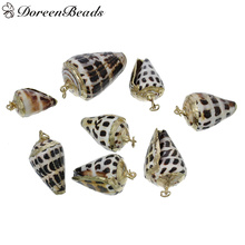 "DoreenBeads Natural Shell Pendants Jump Ring gold color Conch Natural Color 4cm x2.1cm-28mm x14mm(1 1/8"" x 4/8""),3 PCs(China)"