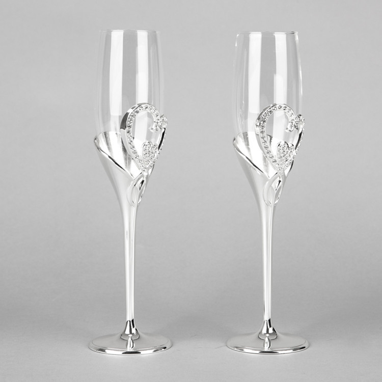 New arrival hot sale fashion 26cm tall wedding champagne glass goblet toast flute silver martini glass party wine glass(China (Mainland))