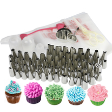 101pcs /set russian tulip nozzles cake icing piping nozzles bags coupler and heart Tie