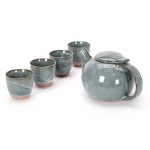 5pcs Vintage Coffee Tea Set Pot Exquisite Chinese Kung Fu Tea Pots Kettle Handmade Chinese Glazed Ceramic Teapot Tea Cup Pitcher