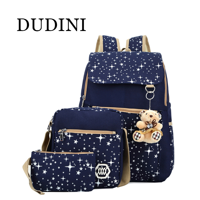 DUDINI 4 Colors Backpacks Brand 3 pieces Sets Women Backpack Star Printing Canvas School Bags for Teenager Girls Shoulder Bag <br><br>Aliexpress
