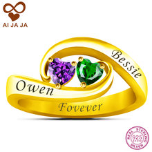 AIJAJA Sterling Silver Personalized Name Engraving & Birthstones Ring, Gold Color Two heart Zircons Couple Infinite Ring Jewelry