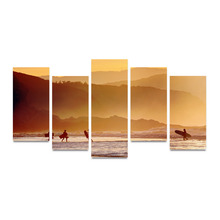 5 Panels Canvas Print People On Beach And Mountains Painting for Living Room Wall Art Picture Home Decoration FIV0100(China)