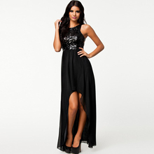 Dower Me Wholesale Price Sexy Black Sequin High Low Summer Maxi Dress Sleeveless Sheath Asymmetrical Party Dress For Women(China)