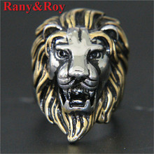 Support Dropship Golden Silver Lion King Ring 316L Stainless Steel Punk Style Cool Lion Head Ring(China)