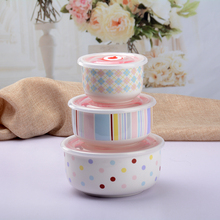 3pcs/set ceramic bowls lunch box mess tin noddles bowls with lid for micro oven