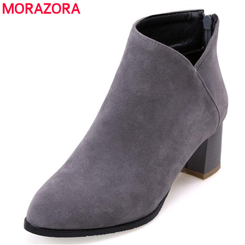 MORAZORA Work office lady ankle boots spring autumn boots high heels zip flock women boots large size 34-43 solid fashion<br>