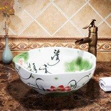 Blue and White Art Porcelain Countertop Basin Sink Handmade Ceramic  Bathroom Vessel Sinks Vanities round ceramic bathroom sinks