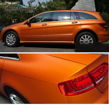 Orange Matte Chrome Ice Satin Chrome Matt Metallic Finished Film Full Car Body Wrap With Air Bubble Free 1.52*20M/ROLL