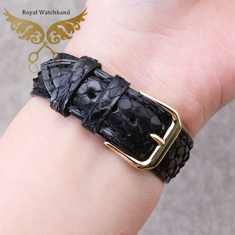 18mm 19mm 21mm 22mm Available Men Ladies Black Genuine Python Leather Replacement Watch Band Strap<br>