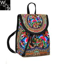 WALLIKE brand Lady New Embroidery Unique Nice School Bag Ethinic Travel Rucksack Shoulder Bags Women National Style Backpack(China)