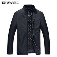 ENWAYEL Brand Spring Autumn Stand Collar Male Casual Jackets Men Thin Pockets Windbreaker Jackets Coat Clothes Clothing JY-1701(China)