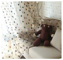 FYFUYOUFY New Modern Dot bird's nest embroidered tulle curtain for living room French window decorate voile curtain