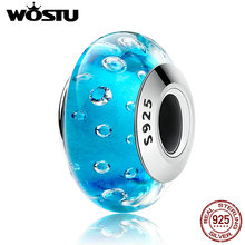 WOSTU Authentic 925 Sterling Silver Blue Clear CZ Murano Glass Beads Fit Original WST Charm Bracelet Jewelry Gift CQZ029(China)