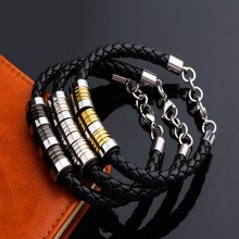 Fashion Jewelry Men Genuine Leather Rope Chain Stainless Steel Bracelet Male Vintage Hand Strap Bracelets Three Color Options