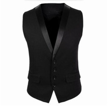 Black Men Suit Vest Four Buttons Grey Men's Fashion Wedding Waistcoat Single Breasted Mens Sleeveless Jacket(China)