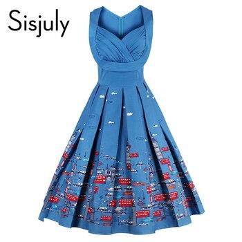 Sisjuly 2017 robes vintage imprimé floral style 1950 s mignon bleu partie femmes dress haute-taille printemps sans manches vintage robes
