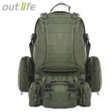 Outlife 50L Outdoor Backpack Military Molle Tactical Bag Rucksack Backpacks Hiking Camping Camouflage Water Resistant Sport Bags