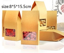 30pcs/lot  Tea packaging cardboard kraft paper bag,Clear Window box For Cake Cookie Food Storage Standing Up Paper Packing Bag