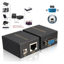 60M VGA to RJ45 Ethernet Signal Extender CAT5e/6 Transmitter Receiver Adapter for HDTV HDPC PS3 STB
