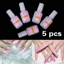 5 x 10g Nail Art Glue Tips Glitter UV Acrylic Rhinestones Decoration With Brush Nail Polish Glue Acrylic Glue