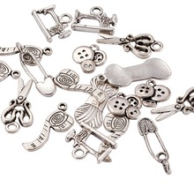 Sewing Knitting Themed Tibetan Style Alloy Pendants Scissor/Pipe/Safety Pin/Yarn Clew/Button/Sewing Machine Charms DIY Jewelry