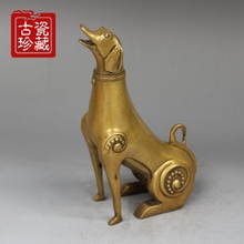 New open feng shui pure brass sculpture Lucky dog home accessories Decoration copper birthday dog creative crafts(China)