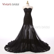 Vivian's Bridal Long Prom Dresses 2016 Beaded Sequin Black Lace Tulle See Through Dresses PD500(China)