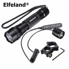 Elfeland Xenon 7.4V 1000Lm Tactical WF-501B LED Flashlight 18650 Torch+Remote Switch+gun Mount for bike/camping/fishing/hunting