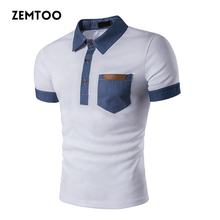 Brand Clothing Summer Men's Polo Shirt Fashion Cowboy Stitching Short Sleeve Polo Shirt Slim Fit Casual Camisa Polo Homme ZE0251